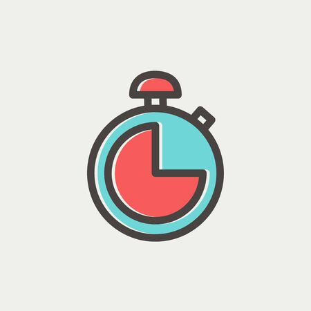 Stopwatch icon thin line for web and mobile, modern minimalistic flat design. Vector icon with dark grey outline and offset colour on light grey background. Illustration