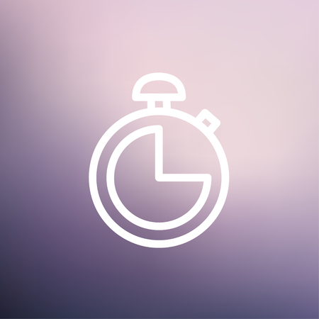 Stopwatch icon thin line for web and mobile, modern minimalistic flat design. Vector white icon on gradient mesh background. Illustration
