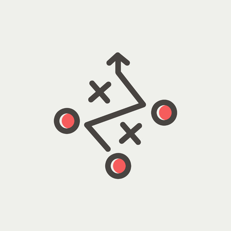 Tic tac toe game icon thin line for web and mobile, modern minimalistic flat design. Vector icon with dark grey outline and offset colour on light grey background. 向量圖像