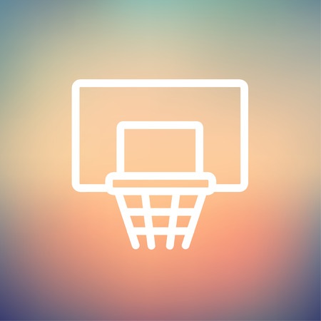 Basketball hoop icon thin line for web and mobile, modern minimalistic flat design. Vector white icon on gradient mesh background.