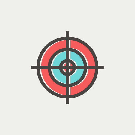 crosshair: Crosshair target icon thin line for web and mobile, modern minimalistic flat design. Vector icon with dark grey outline and offset colour on light grey background.