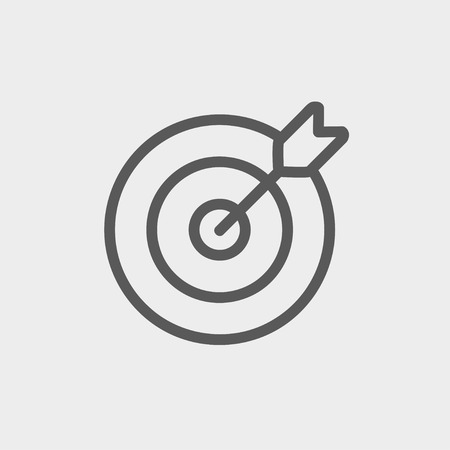modern: Arrow hit the target icon thin line for web and mobile, modern minimalistic flat design. Vector dark grey icon on light grey background.