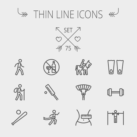 hiking: Sports thin line icon set for web and mobile. Set includes- walking exercise, hiking, baseball bat and ball, cricket game, skydiving, flippers icons. Modern minimalistic flat design. Vector dark grey icon on light grey background.