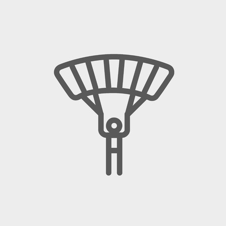 airplay: Skydiving icon thin line for web and mobile, modern minimalistic flat design. Vector dark grey icon on light grey background.