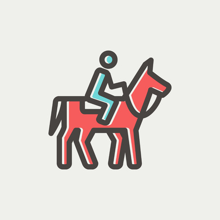 Horse riding icon thin line for web and mobile, modern minimalistic flat design. Vector icon with dark grey outline and offset colour on light grey background. Vector