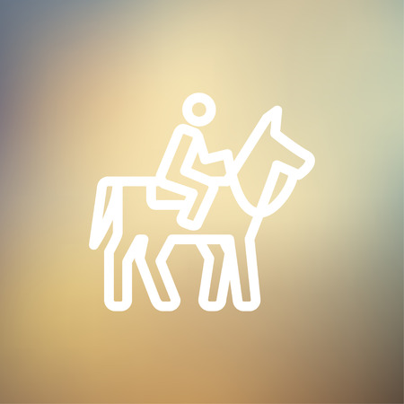 Horse riding icon thin line for web and mobile, modern minimalistic flat design. Vector white icon on gradient mesh background. Vector