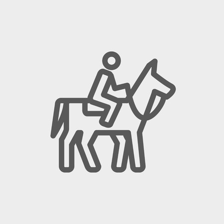 Horse riding icon thin line for web and mobile, modern minimalistic flat design. Vector dark grey icon on light grey background. Vector