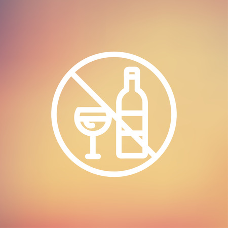 spirituous beverages: No alcohol sign icon thin line for web and mobile, modern minimalistic flat design. Vector white icon on gradient mesh background.