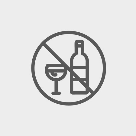 spirituous beverages: No alcohol sign icon thin line for web and mobile, modern minimalistic flat design. Vector dark grey icon on light grey background. Illustration