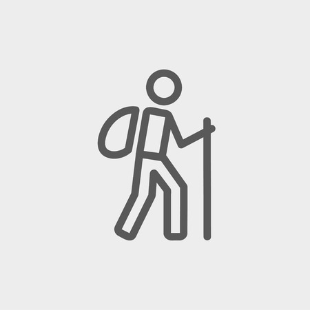 hiking: Hiking exercise icon thin line for web and mobile, modern minimalistic flat design. Vector dark grey icon on light grey background.