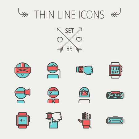 Technology thin line icon set for web and mobile. Set includes -smartwatch, virtual relity headset, wristwatch, robot hand icons. Modern minimalistic flat design. Vector icon with dark grey outline and offset colour on light grey background.