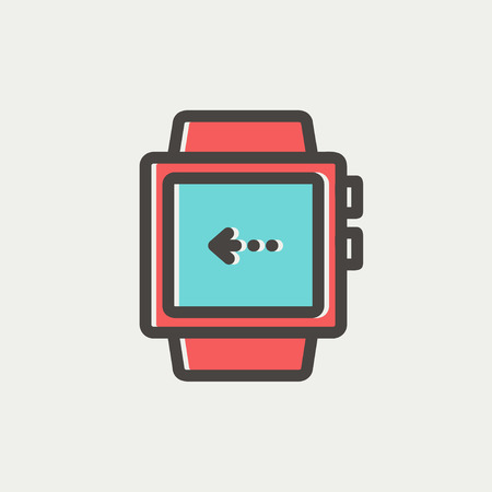 Smart watch icon thin line for web and mobile, modern minimalistic flat design. Vector icon with dark grey outline and offset colour on light grey background.