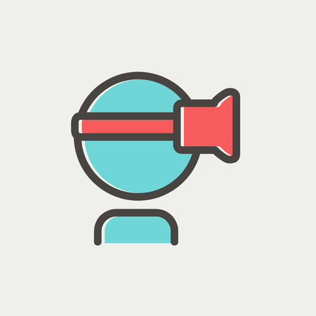 Virtual reality headset icon thin line for web and mobile, modern minimalistic flat design. Vector icon with dark grey outline and offset colour on light grey background. Illustration