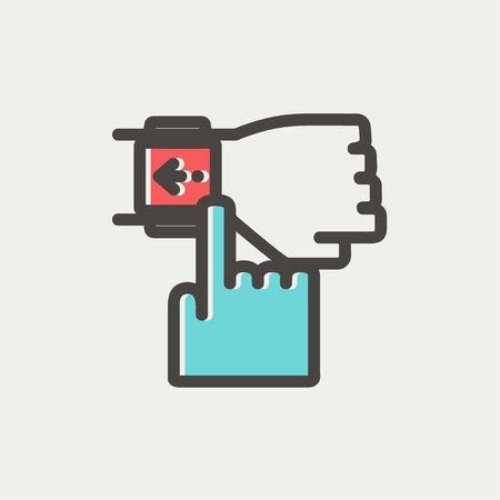 Smart watch pointing by finger icon thin line for web and mobile, modern minimalistic flat design. Vector icon with dark grey outline and offset colour on light grey background. Vector