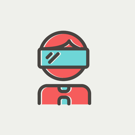 Young boy with VR headset icon thin line for web and mobile, modern minimalistic flat design. Vector icon with dark grey outline and offset colour on light grey background. Illustration