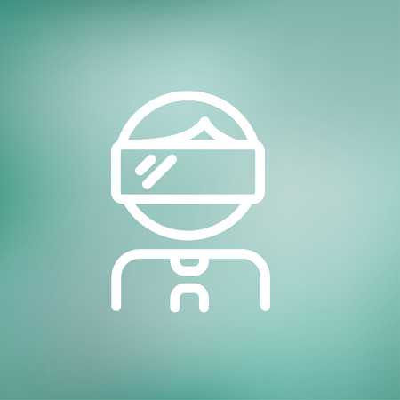 Young boy with VR headset icon thin line for web and mobile, modern minimalistic flat design. Vector white icon on gradient mesh background. Illustration