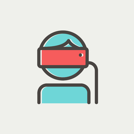 Young lady is using virtual reality headset icon thin line for web and mobile, modern minimalistic flat design. Vector icon with dark grey outline and offset colour on light grey background.