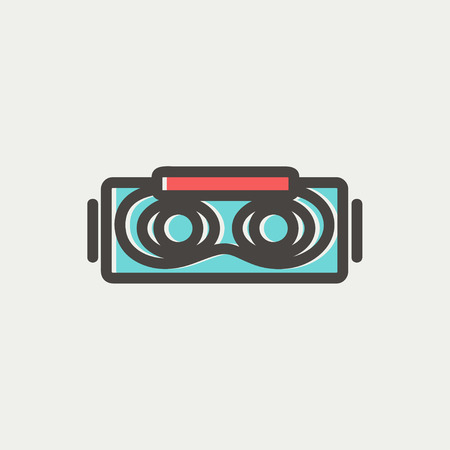 Virtual reality mask icon thin line for web and mobile, modern minimalistic flat design. Vector icon with dark grey outline and offset colour on light grey background.