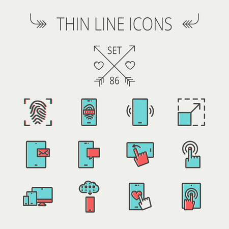 functionality: Technology thin line icon set for web and mobile. Set includes - mobiles icons, fingerprint, wireless gadgets icons. Modern minimalistic flat design. Vector icon with dark grey outline and offset colour on light grey background.