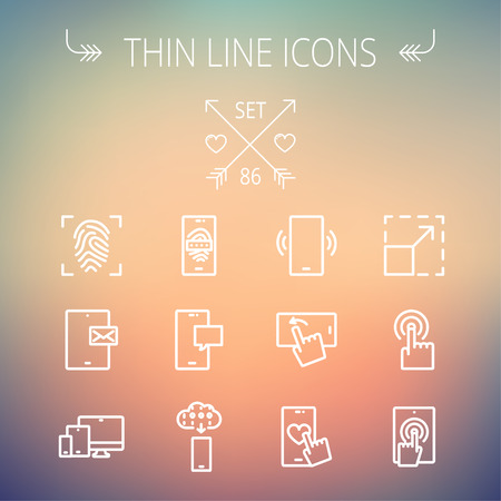 web icons: Technology thin line icon set for web and mobile. Set includes- mobiles icons, fingerprint, wireless gadgets icons. Modern minimalistic flat design. Vector white icon on gradient mesh background.