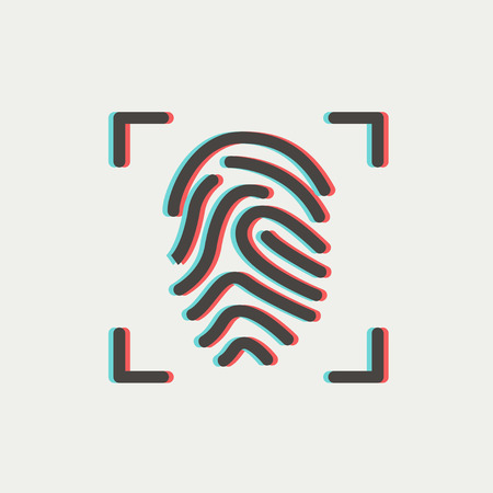 Fingerprint scanning icon thin line for web and mobile, modern minimalistic flat design. Vector icon with dark grey outline and offset colour on light grey background.
