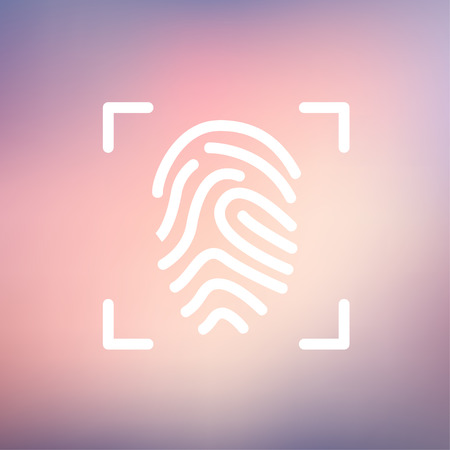 scanning: Fingerprint scanning icon thin line for web and mobile, modern minimalistic flat design. Vector white icon on gradient mesh background.