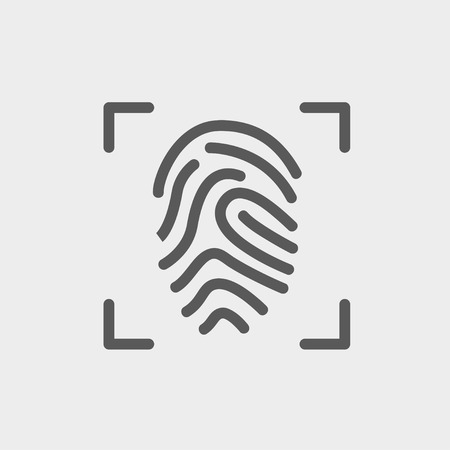 scanning: Fingerprint scanning icon thin line for web and mobile, modern minimalistic flat design. Vector dark grey icon on light grey background.