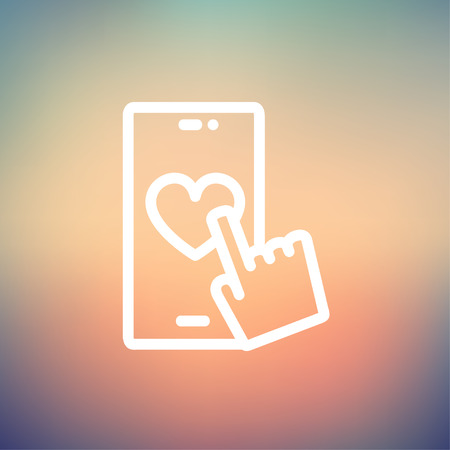 human touch: Cellphone with heart icon thin line for web and mobile, modern minimalistic flat design. Vector white icon on gradient mesh background.