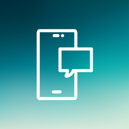 Empty speech bubble in smartphone icon thin line for web and mobile, modern minimalistic flat design. Vector white icon on gradient mesh background. Ilustração