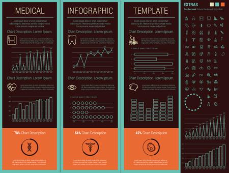 plus icon: Flat Medical Infographics Elements plus Icon Set. Vector.