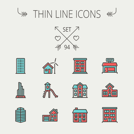 playhouse: Construction thin line icon set for web and mobile. Set includes -house, playhouse, house with garage, buildings, shop store. Modern minimalistic flat design. Vector icon with dark grey outline and offset colour on light grey background. Illustration