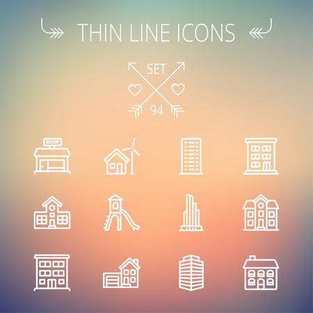 modern house: Construction thin line icon set for web and mobile. Set includes -house, playhouse, house with garage, buildings, shop store. Modern minimalistic flat design. Vector white icon on gradient  mesh background. Illustration
