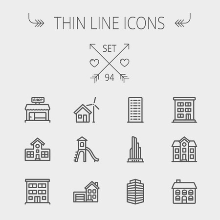 Construction thin line icon set for web and mobile. Set includes -house, playhouse, house with garage, buildings, shop store. Modern minimalistic flat design. Vector dark grey icon on light grey background Иллюстрация