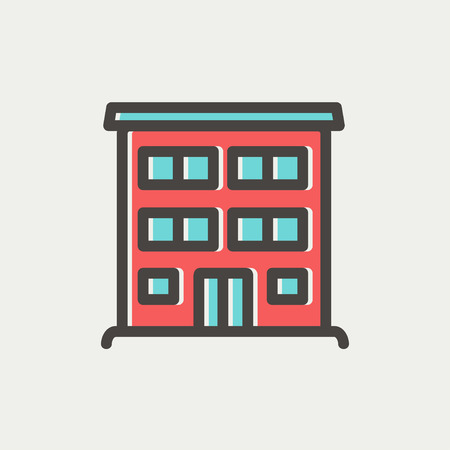 Hospital building icon thin line for web and mobile, modern minimalistic flat design. Vector icon with dark grey outline and offset colour on light grey background. Vector