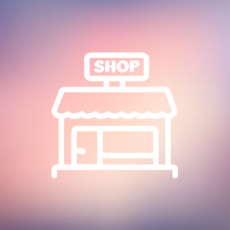 sidewalk sale: Shop store icon thin line for web and mobile, modern minimalistic flat design. Vector white icon on gradient mesh background. Illustration