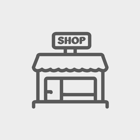 sidewalk cafe: Shop store icon thin line for web and mobile, modern minimalistic flat design. Vector dark grey icon on light grey background. Illustration