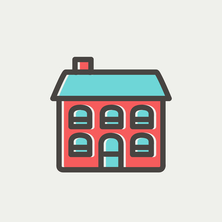 row houses: Retro flat house icon thin line for web and mobile, modern minimalistic flat design. Vector icon with dark grey outline and offset colour on light grey background.