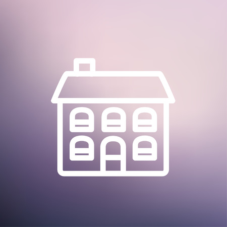 Retro flat house icon thin line for web and mobile, modern minimalistic flat design. Vector white icon on gradient mesh background.