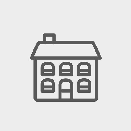 row houses: Retro flat house icon thin line for web and mobile, modern minimalistic flat design. Vector dark grey icon on light grey background. Illustration