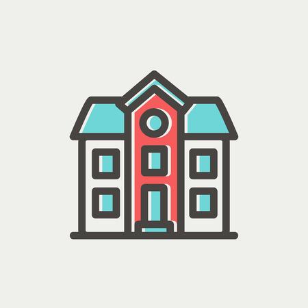 Deux étages construction de maison icône fine ligne pour le web et mobile, design plat moderne et minimaliste. Vector icône avec un contour gris foncé et offset couleur sur fond gris clair. Banque d'images - 40755752