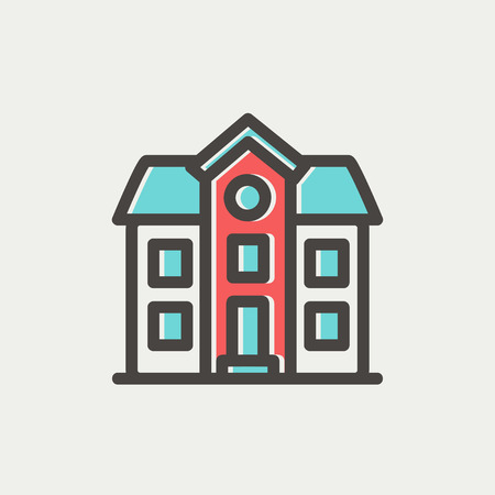 storey: Two storey house building icon thin line for web and mobile, modern minimalistic flat design. Vector icon with dark grey outline and offset colour on light grey background.