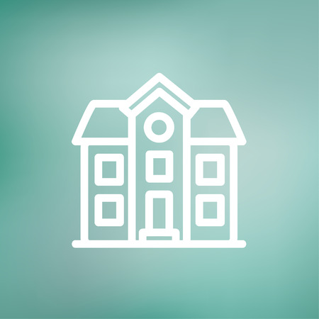 two storey: Two storey house building icon thin line for web and mobile, modern minimalistic flat design. Vector white icon on gradient mesh background. Illustration