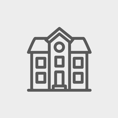 two storey house: Two storey house building icon thin line for web and mobile, modern minimalistic flat design. Vector dark grey icon on light grey background.