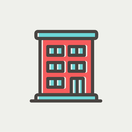 cemented: Residential building icon thin line for web and mobile, modern minimalistic flat design. Vector icon with dark grey outline and offset colour on light grey background.