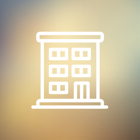 Residential building icon thin line for web and mobile, modern minimalistic flat design. Vector white icon on gradient mesh background.