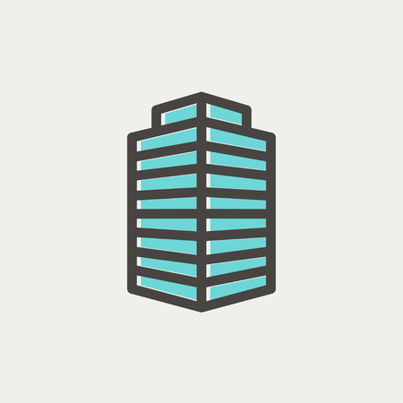 Small Office Building icon thin line for web and mobile, modern minimalistic flat design. Vector icon with dark grey outline and offset colour on light grey background. Vector