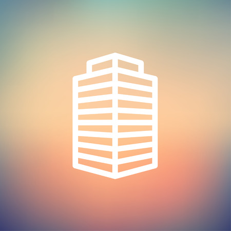 office building icon: Small Office Building icon thin line for web and mobile, modern minimalistic flat design. Vector white icon on gradient mesh background.