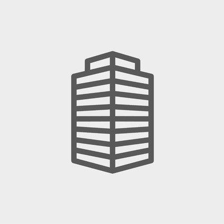 Small Offiice building icon thin line for web and mobile, modern minimalistic flat design. Vector dark grey icon on light grey background. Vector