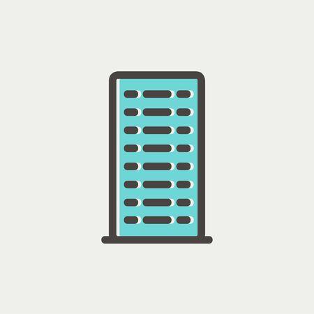 cemented: Icono Edificio delgada l�nea para web y m�vil, dise�o plano minimalista moderno. Vector icono con el esquema de color gris oscuro y el color offset sobre fondo gris claro.