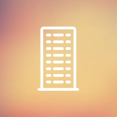 cemented: Icono de construcci�n de l�nea delgada para web y m�vil, dise�o plano minimalista moderno. Vector icono blanco sobre fondo de malla de degradado.